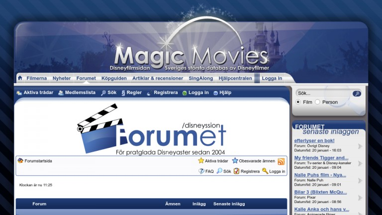 Skärmdump av Magic Movies Forum